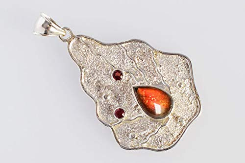FSJ-3664 Handmade Solid 925 Sterling Silver Ravishing Impressions Natural Red Flashy Fire Ammolite Gemstone Pendant Designer Gifts for Wife