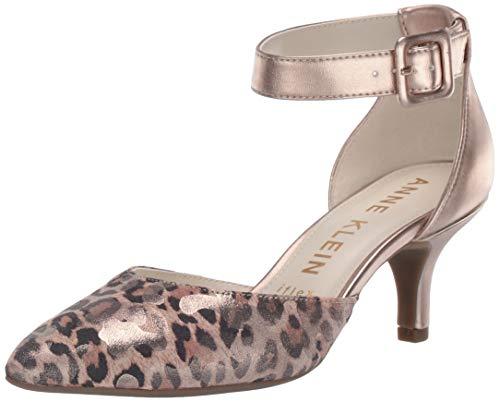 (Anne Klein Women's Fabulist Ankle Strap Pump, Metallic Leopard camo, 5 M US)