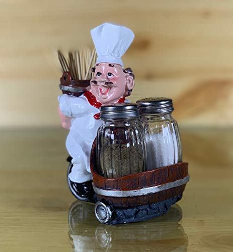 Nyrwana Sitting French Chef Pierre Glass Salt and Pepper Shaker Set with Decorative Display Stand Table Centerpiece Figurine-3 Price & Reviews