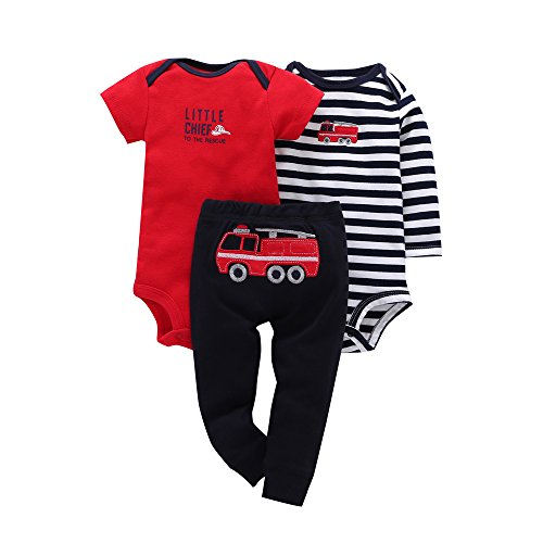 Comfydot Baby Infant Boy Outfit Clothes Bodysuit Pants Set 6M Red Navy Stripe