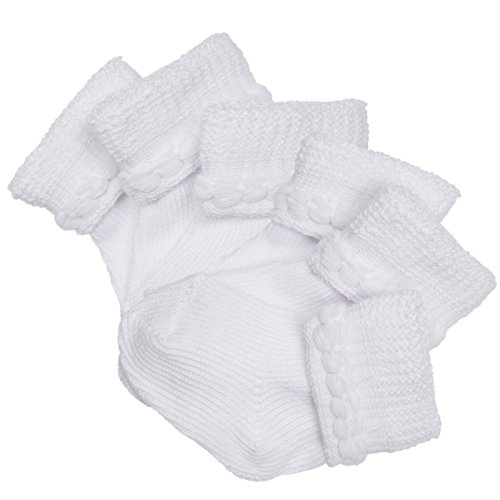 Trimfit Baby Girls Cotton Infant Bootie 6-Pack White M (0-6 months)