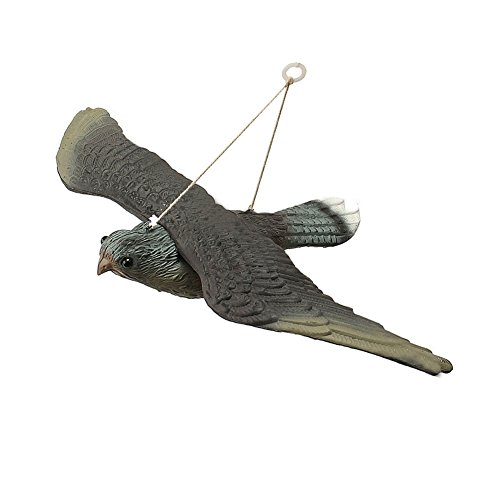 Flying Hawk Decoy Bird Deterrant, Flying Falcon Decoy Wingspan for Gardens, Scares Foraging Birds from Outdoor Areas, Hanging System for Wall and Tree Mounting