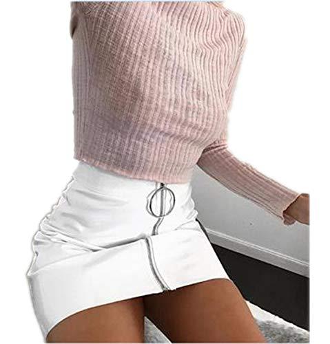 (Cyose Fashion Women High Waist Zip Faux Leather Short Pencil Bodycon Mini Skirt Solid White Skirt White XL)