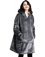 NUO Oversized Sherpa Hoodie Sweatshirt Blanket,Super Soft Warm Giant Hoody Front Giant Pocket for Adults Man and Woman, Grey Sweatshirt Blanket,Suitable for Adults and Teens