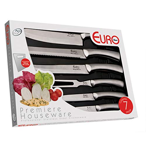 Conjunto de Facas, 7 Peças (5 facas, 1 tábua, 1 garfo), Inox, Euro