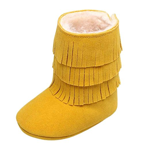 Ouneed® Krabbel schuhe , Herbst Winter Baby Keep Warm cute Tassels Soft Sole Snow Boots Soft Crib Shoes Toddler Boots Gelb