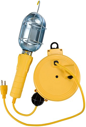 Bayco Products SL-450 Metal Shield Incandescent Utility Light with Grounded Receptacle on 20' Retractable Reel
