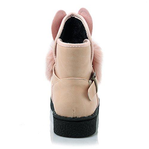 Carolbar Womens Plus Size Schattige Konijntje Gevormde Decoratie Gesp Faux Bont Korte Laarzen Roze