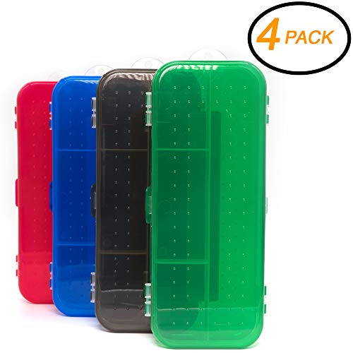 Emraw Double Deck Organizer Box - Small Items Organizer Box with 5 compartments Durable Plastic Pencil Box Small Plastic Pencil Case, Mini Organizer Storage Box (Random 4-Pack) (Boxes Organizer Plastic 5)
