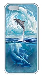 Dolphin Sky TPU Silicone Case Cover for iPhone 5/5S White