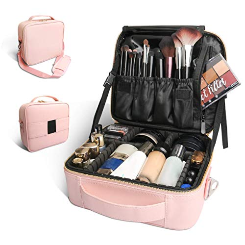 Bvser Travel Makeup Case, PU Leather Portable Organizer Makeup Train Case Makeup Bag Cosmetic Case with Shoulder Strap and Adjustable Dividers for Cosmetics Makeup Brushes Women - Pink