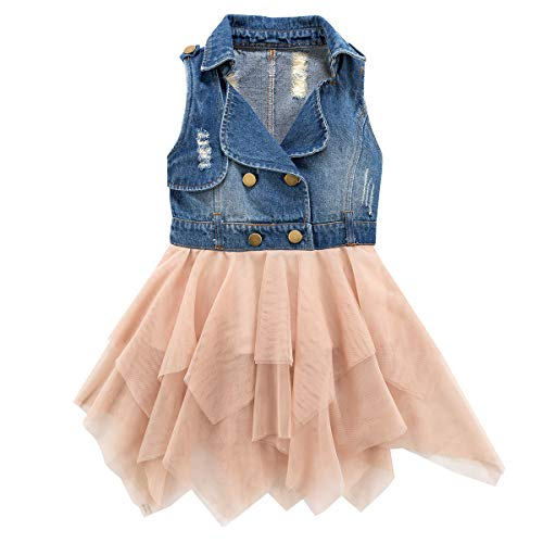 - Colorful Childhood Little Girls Dresses Denim to Mesh Layer Casual Vest Jacket Dress Beige Size 6-7T