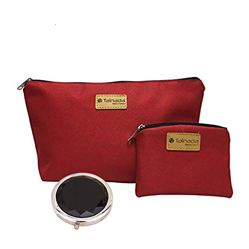 Tainada Cosmetic Bag / Makeup Pouch / Toiletry Storage Water-Repellent Zipper Travel Organizer for Women's Beauty & Skincare Accessories + One Coin Purse & Cosmetics Mirror Bundle Set (Red)