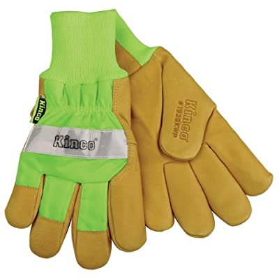 Kinco 1939KWP HI-VIS Green Lined Grain Pigskin Leather Palm Work Glove with Waterproof Insert
