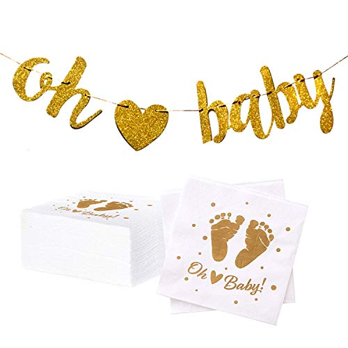100 Baby Shower Napkins | Oh Baby Napkins with Pre-Strung Gold Oh Baby Banner | Gender Neutral Baby Shower Decorations and Sprinkle Party Supplies by Dessie -