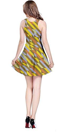 Géométrique Vector Banane Polygonale 5xl Cowcow Manches Robe Xs Sans Rétro Abstract Iridescent Coloré Womens qBI4w5