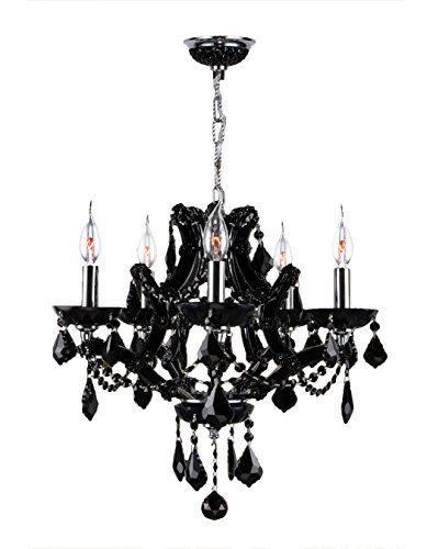 Worldwide Lighting Lyre Collection 5 Light Chrome Finish and Black Crystal Chandelier 19