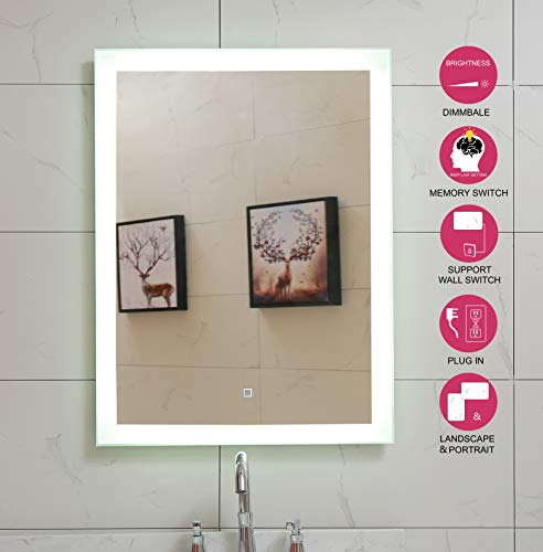 Lighted Bathroom Mirror Dimmable Wall Mounted LED Mirror GS084D-2430(24