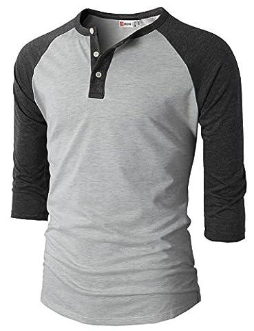H2H Mens Casual Slim Fit Raglan Baseball Three-Quarter Sleeve Henley Premium T-Shirts CHARCOAL US M/Asia L - Short Raglan Sleeve