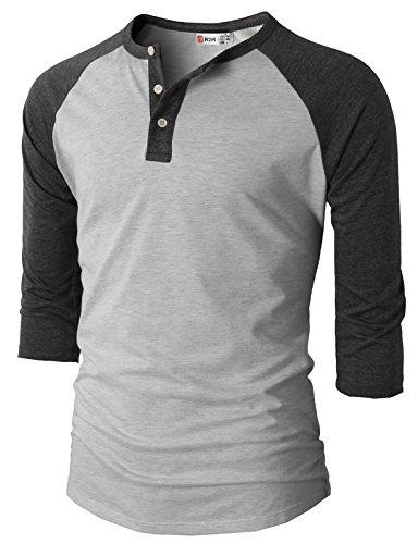 【H2H】ベーシック メンズ カジュアル ファッション オシャレ カラー ヘンリーネック 七分袖 ティーシャツ CMTTS0174