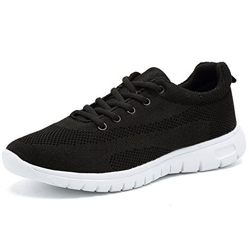 CIOR Men's Women's Running Shoes Fashion Sport Lightweight Walking Sneakers,WPS,Black,42