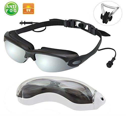 Anti Fog Swimming Goggles with Connected Ear Plug Mirrored Glass Material Bundle With A Bonus Gift Nose Clip and Protector Case