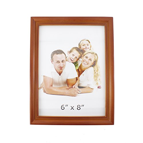 6x8 inches Classic Rectangular Wood Desktop Family Picture Photo Frame with Glass Front (6x8 Style 2, Brown) (Aqua And Brown Wedding Invitations)