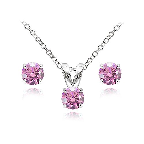 GemStar USA Sterling Silver Solitaire Light Rose Necklace Stud Earrings Set Created Swarovski Crystals