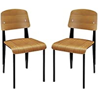 Modway Cabin Molded Bentwood Dining Side Chairs in Walnut - Set of 2