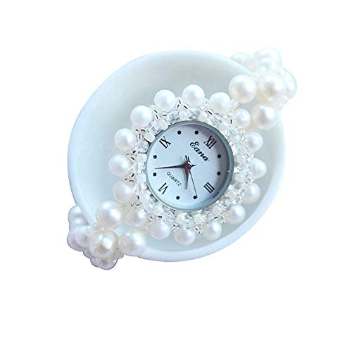 (HZLY Lady Watch Beaded Pink Pearl Bracelet Table Waterproof Lady Watches Pearl Jewelry)