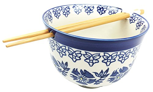 Japanese Design Blue Unison Symmetry Pattern Ceramic Ramen Udong Noodle Soup Bowl and Chopsticks Set Great Gift For College Students Housewarming Ramen Lovers Asian Living Home Decor by Gifts & Decors