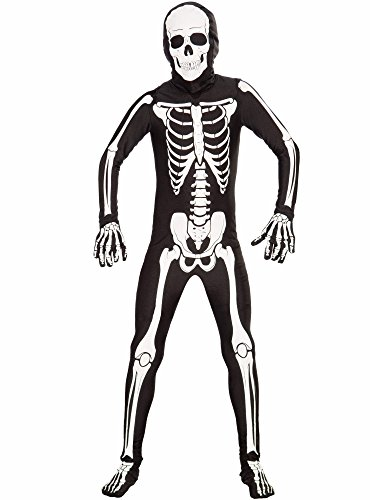 Forum Novelties I'm Invisible Costume Stretch Body Suit, Skeleton, Child Medium
