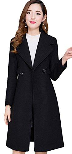 Youhan Women's Slim Wool Blend Trench Coat Winter Long Pea Coat (Small, Black) by Youhan
