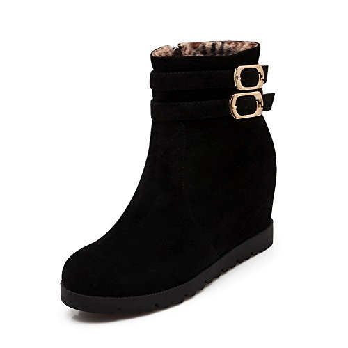 Women's Round Closed Toe Low-Heels Dull Polish Low-Top Solid Boots