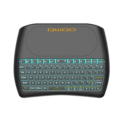 QWOO Mini Keyboard Backlit Wireless Keyboard Large Touchpad Mouse,Long Battery Life,Handheld Remote Control Keyboard for PC Google Android TV Box
