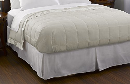 (Pacific Coast Feather Company 67810 Down Blanket, Cotton Cover with Satin Border, Hypoallergenic, Full/Queen, Cream)