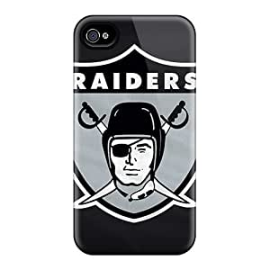 Rugged Skin Case Cover For Iphone 4/4s- Eco-friendly Packaging(oakland Raiders)