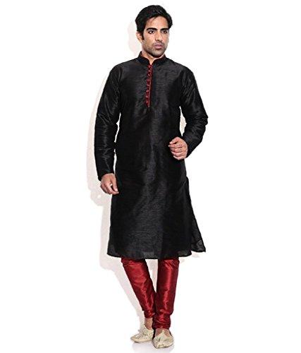 Occassional Sets (Royal Kurta Men's Silk Blend Occassional Wear Loopbutton Kurta Set 44 Black)