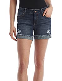 "Women's Celebrity Pink 5"" Mid Rise Fray Cuff Denim Short"