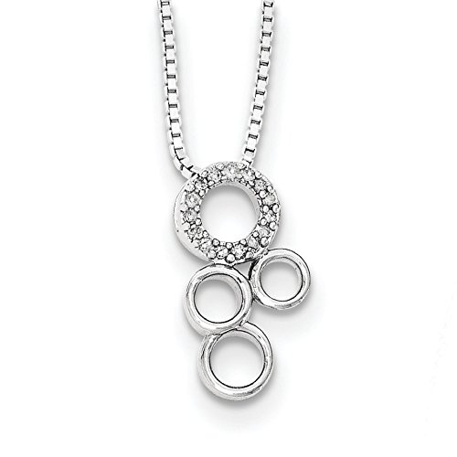 Argent Sterling blanc glace diamant pendentif Slide-JewelryWeb - 18 cm