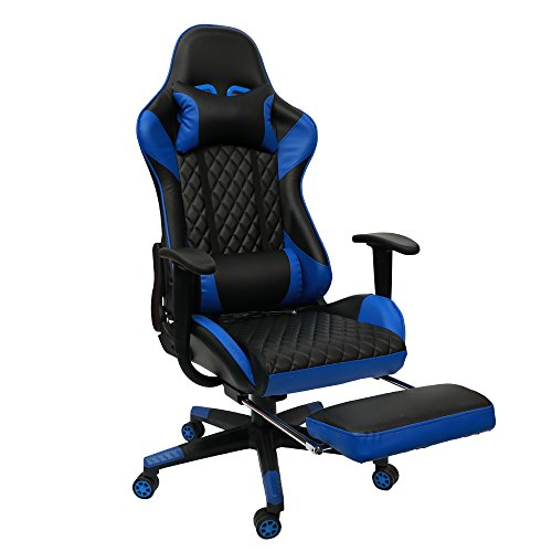 Insoria Swivel Gaming Chair Ergonomic Racing Style PU Leather Office Chair Lumbar Massage Support Retractable Footrest (Blue/Black)