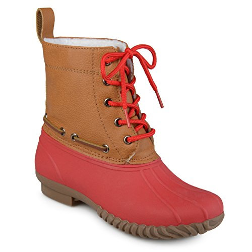 Journee Collection Kids Faux Shearling Lace-up Duck Boots Red, 13 Regular US Red Shearling Boots