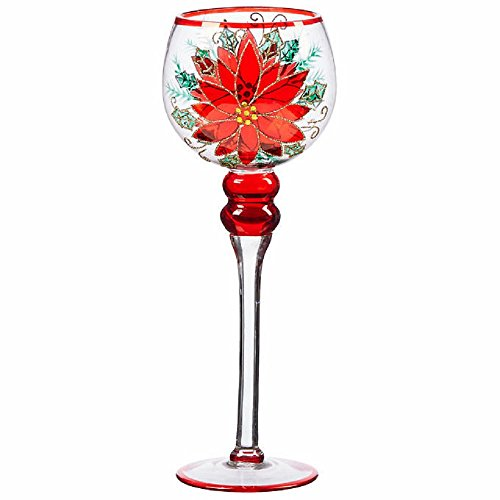 NEW! Elegant Hand Painted Poinsettia Glass Candle Holders, Red/Multi-colored Finish (Set of 3)