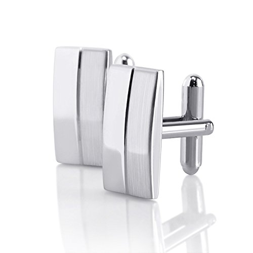 Plated Polished Rectangle Cufflinks (Zodaca Classic Silver Rectangle Cufflinks)