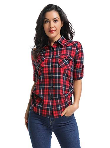 OCHENTA Women's Long Sleeve Button Down Plaid Flannel Shirt M050 Red Blue - Shirt Sleeve Check Tab