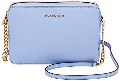 Michael Kors  Women's Jet Set Crossbody Leather Bag, Pale Blue, Large