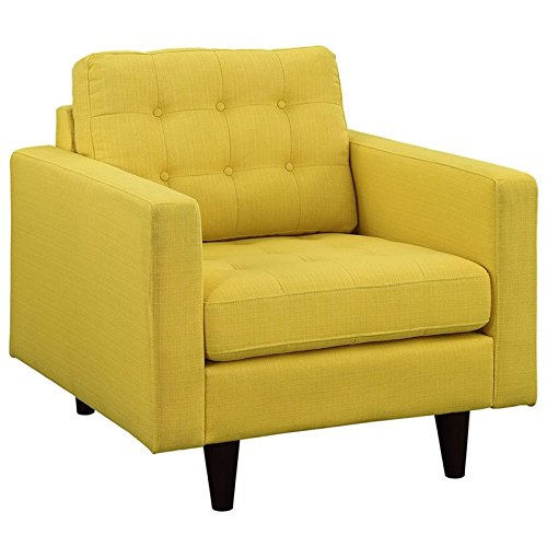Modway Empress Mid-Century Modern Upholstered Fabric Armchair In Sunny