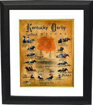 Dust Commander Autographed Kentucky Derby Champions Churchill Downs Run for the Roses Horse Racing 16x20 Photo Deluxe Custom Framed 8 sigs - Signed Racing Collectibles