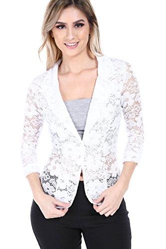 Button Magazine - Fashion Magazine Womens One Button Office Knit Blazer Jacket,Made in USA (Small-3XL) Whitelace