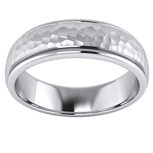 Heavy Solid Sterling Silver 6mm Hammered Unisex Wedding Band Comfort Fit Ring Raised Center Polished Sides (10.5) by LANDA JEWEL (Image #1)
